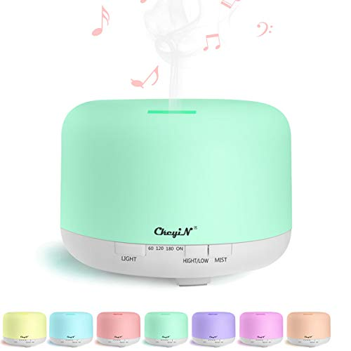 CkeyiN 800ml Large Essential Oil Diffuser, Aromatherapy Fragrant Oil Humidifier With Bluetooth Speaker, Waterless Auto Shut-off with 3 Timers, 7 LED Color Changing Lamps for Home Office