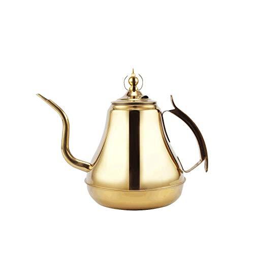 JXLBB Théière de fleur de théière de bulle d'acier inoxydable 304 de pot de couronne avec le filtre Hôtel restaurant avec le cuiseur à induction Bouche élancée Grande théière