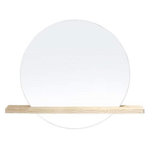 JJHOME-Miroirs Miroir Mural Rond avec Tablette en Bois | Grand Miroir Mural Moderne avec Cadre en Argent et Cercle | Panneau de Verre Rond de qualité supérieure Flottant Contemporain