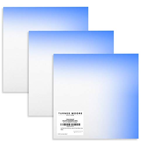 """Cool Blue Color-Changing Vinyl, Turns Bright Blue When Cold, 12""""x12"""" Cold Blue Vinyl Mood Vinyl Sheets for Cricut, Silhouette, Stickers, Decals, Cups, Water Bottles by Turner Moore Edition, 3-pk"""