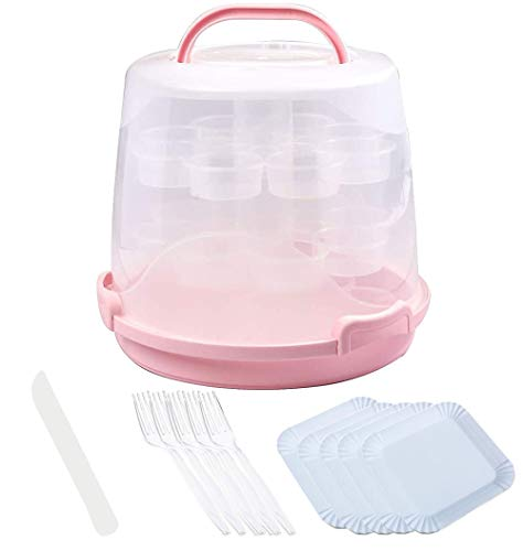 3-Tier Cake Carrier and Cupcake Muffin Carrier with Collapsible Handles, Disposable Knife, Fork and Plate