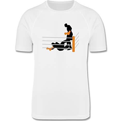 Shirtracer Kampfsport - Boxer am Boden K.O. geschlagen - XXL - Weiß - Mann - F350 - Herren Laufshirt