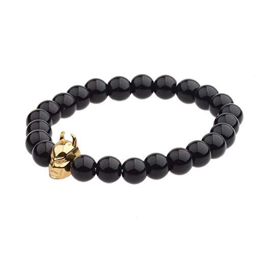 ZMMZYY Stein Armband, Charm Männer Naturstein Gold Perlen Armband Gold Legierung Stretch Armreifen Frauen Zubehör