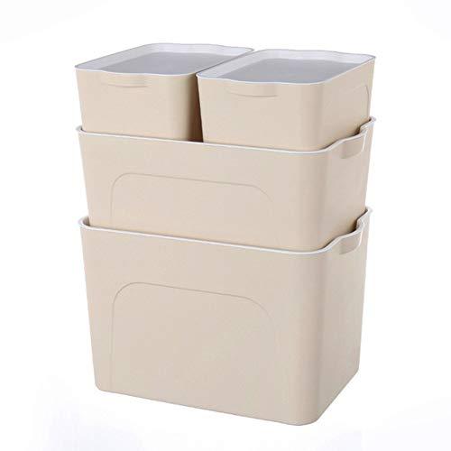 MKJYDM Caja de apilamiento/contenedor Estable (con Tapa Transparente) - Set4 Cesto de la Ropa (Color : Beige, Size : 41 * 28 * 29)