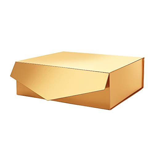 PACKHOME Gift Box 14x9.5x4.5 Inches, Large Gift Box with Lid, Bridesmaid Proposal Box, Sturdy Storage Box, Collapsible Gift Box with Magnetic Closure (Glossy Gold)