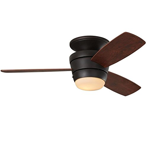 Mazon 44-in Oil-Rubbed bronze Integrated LED Indoor Flush Mount Ceiling Fan with Light Kit and Remote (3-Blade)