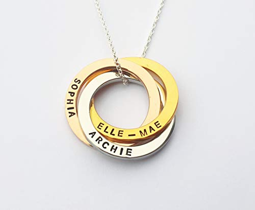 Personalised Linked Circles Necklace, Rose Gold, Silver, Gold, Gift for Mum, Nanny, Wife, Russian Wedding Ring Necklace, 30th Birthday