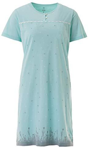 Zeitlos Damen Nachthemd Kurzarm Baumwolle Schleife Knöpfe M-6XL, Farbe:Mint, Größe:2XL