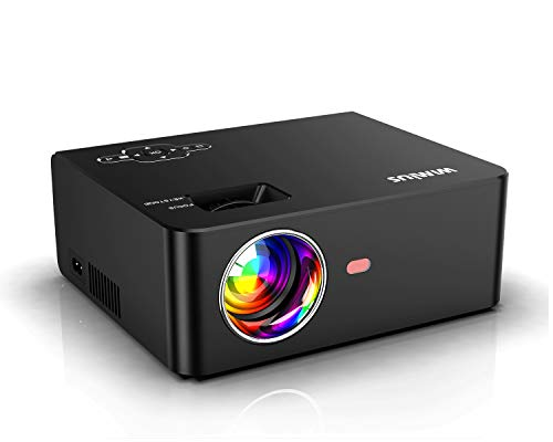 Videoproiettore, WiMiUS 5800 Lumen Mini Proiettore Portatile Nativa 1280 * 720P Full HD LED Suppoto 1080P Home Theater proiettore Con 200 '' Displa con TV / PS4 / PC / AV / VGA / USB / HDMI