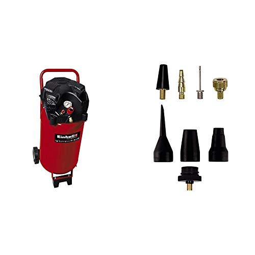 Einhell TH-AC 240/50/10 OF Compresor vertical, 1500 W, 230 V + Pack de 8 accesorios para aire comprimido, color negro