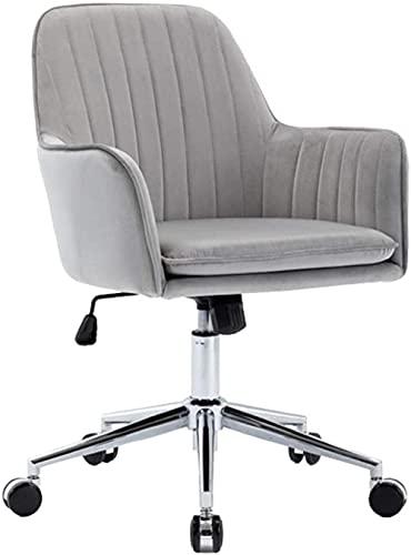 Renovation House Home Schreibtischstuhl aus Samt mit mittlerer Rückenlehne Moderner ergonomischer gepolsterter Bürostuhl Drehhöhenverstellbarer Akzentstuhl mit Armlehnen für Erwachsene Arbeitszimmer