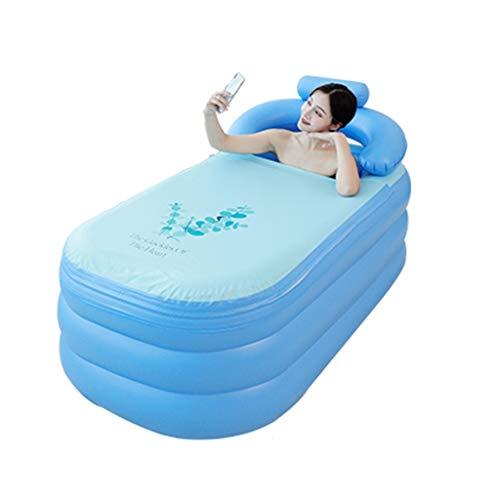 YJX Foldable Bathtub Bath Barrel Adult Bath Barrel Household Inflatable Bathtub Body Bath Artifact Sitting and Lying Bathtub Female (Color : Blue, Size : T2)