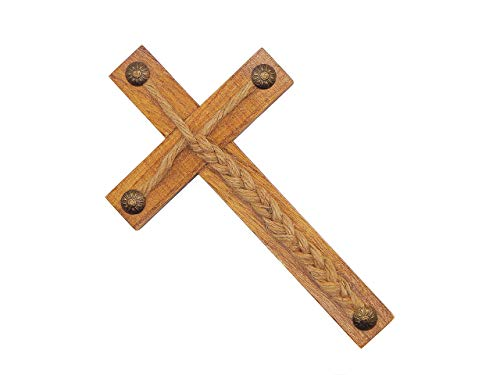 "Wood Rustic Cross Jesus Wall Art Religious Decor Gods Jute Cords 8"" X 4"""