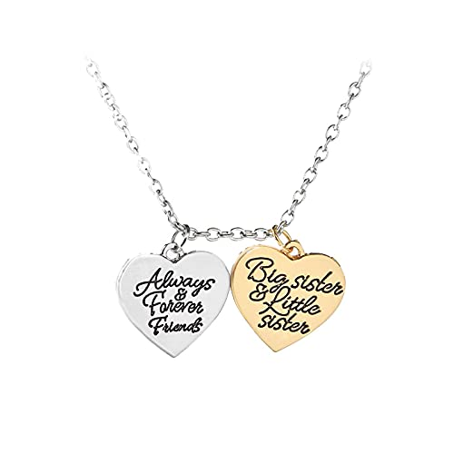 Big Sister Forever Sister Friend Collar Con Colgante De Doble Corazón Collar Forever Best Sister'S Family Gift