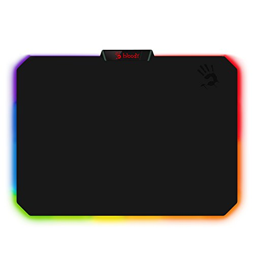 Bloody Gaming RGB LED Gaming Mouse Pad Soft Cloth Surface – Low Friction Surface Ideal for Accuracy, Speed & Control - 10 RGB LED Zones - Waterproof - Non-Slip Rubber Base - Medium 14' X 10' - MP-60R