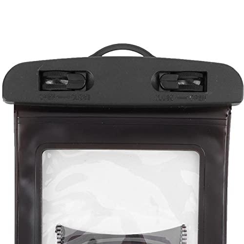 Estuche impermeable para teléfono, bolsa seca subacuática de gran tamaño con 2 cuerdas para colgar para tarjeta de pasaporte o efectivo para todos los teléfonos inteligentes de menos de 7(black)