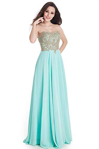 MisShow Damen elegant Mint Abendkleid Brautjungfernkleid Ärmellos Ballkleider Maxilang Mintgrün 32