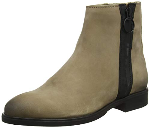 Tommy Hilfiger Damen Tommy Jeans Zip Flat Boot Stiefeletten, Braun (Tiger's Eye Gez), 39 EU
