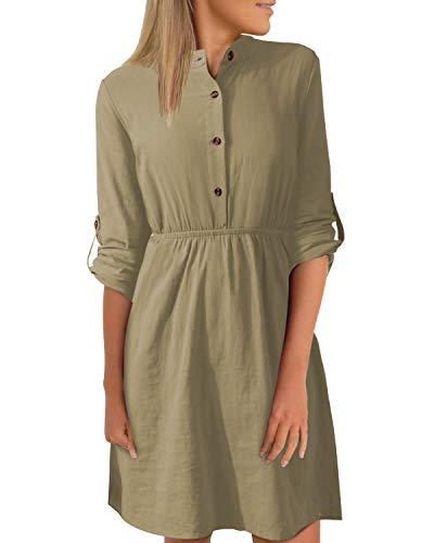 YOINS Damen Kleider Knielang Blusenkleid Elegant Longshirt V-Ausschnitt 1/13 Ärmel Hemdkleid Minikleid mit Knöpfe