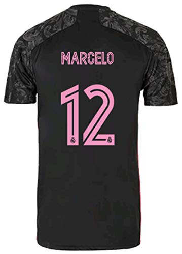 2020-2021 Season Kids/Youths Third Soccer Jersey/Short/Socks Colour Black (Real Madrid Marcelo #12(10-11years/size26))