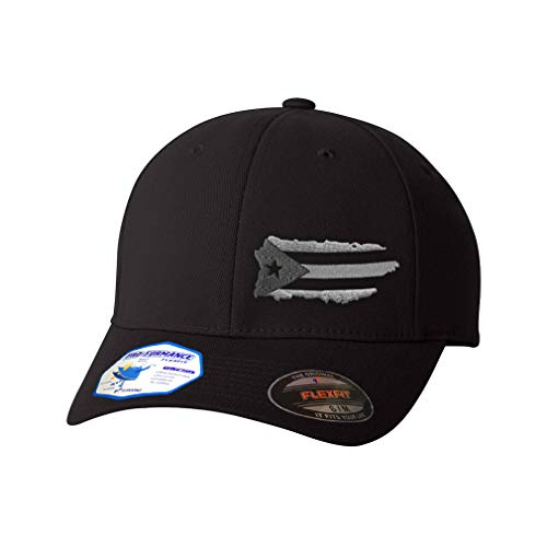 Flexfit Left Side Panel Puerto Rico Island Map Flag A Embroidery Hats for Men & Women Polyester Black Small Medium