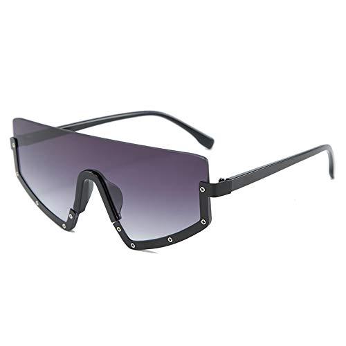 Gafas de sol graduadas de una pieza con lente conectada con medio marco metálico para mujeres y hombres, gafas de sol con personalidad, 4