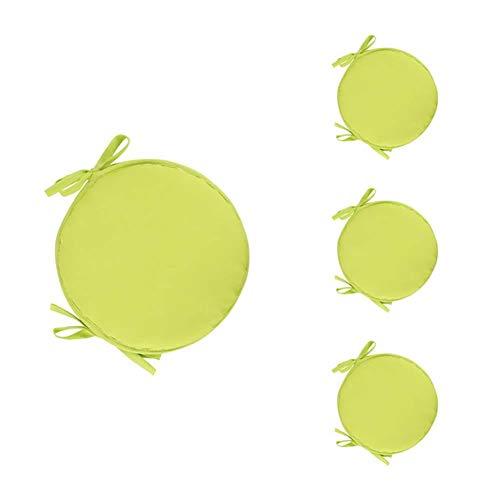 Larew - Set di 4 pezzi rotondi per sedie e sedie rotonde, per taverna, sedie rotonde, per sedie da pranzo, cucina, giardino, per interni ed esterni, 38 cm, giallo chiaro