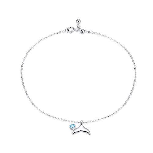 Bijoux Blu Mermaid Blue Ocean Mermaid Bracelet for Ankle 925 Sterling Silver Fish Tail Foot Anklets Bracelets Jewery for Leg