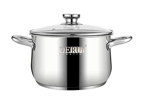 "Nonstick Stock Pots,5 QT Stainless Steel Saucepot with Glass Lid Silver Anti-scalding Handle Stockpot By DERUI CREATION (5QT(9.45""x6.10""), Silver)"