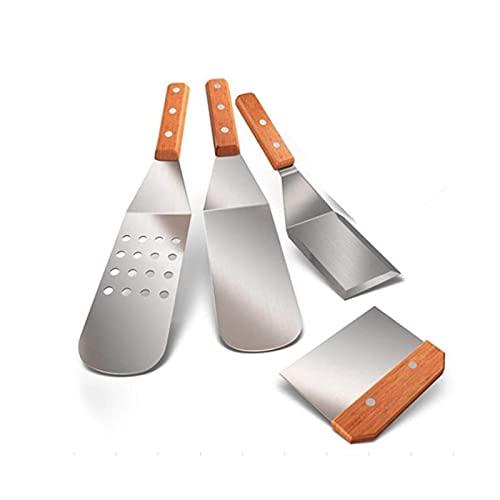 HUAYU Sistema de espátula de Metal de 4, Herramientas de raspador de espátula de Acero Inoxidable con Mango de Madera, Kit de Accesorios de Plancha Ajuste for TEPPAN
