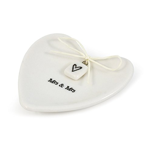 East of India Mrs & Mrs White Porcelain Heart Ring Dish Gift - Wedding Gift