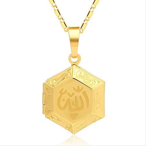 Nobrand Allah Muslim Islamic Anhänger Halskette für Frauen Männer Gold Farbe DIY Bilderrahmen Halskette Schmuck