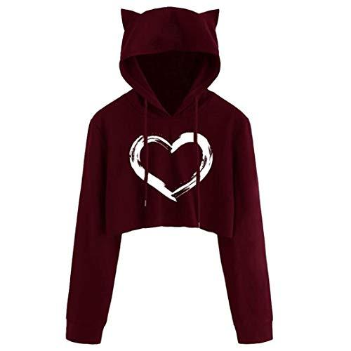 JCNHXD Cute Heart Print Cat Ear Cropped Tops Womens Long Sleeve Sweatshirt Hooded Pullover D S