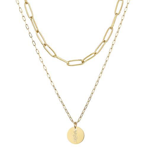 Fnho Crystal Rhinestone Saturn,Pearl Necklaces White Planet Crystal,Collar de Acero Inoxidable con Flor de Nacimiento, Collar Doble en diciembre-Agosto