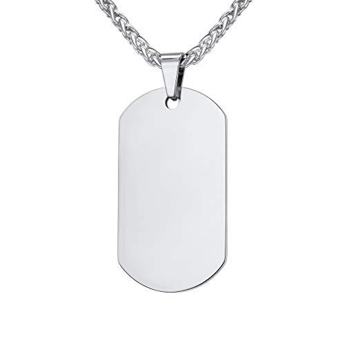 Custom4U Etiqueta Militar Acero Inoxidable 316L Joyería de Moda Colgante Tabla Militante para Soldados Collar de Identidad Chapa Rectangular para Novios