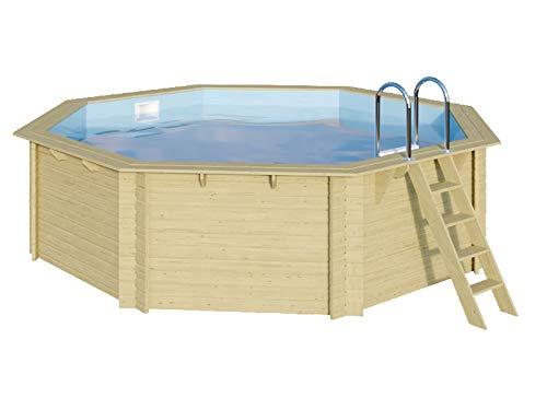Trend Holzpool Set Achteck 400 x 400 x 124 cm Innenhülle Sandfarben