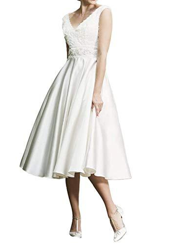 SongSurpriseMall Hochzeitskleid Standesamt Damen V-Ausschnitt Brautkleid Vintage Hochzeitskleider Wadenlang Weiß 52