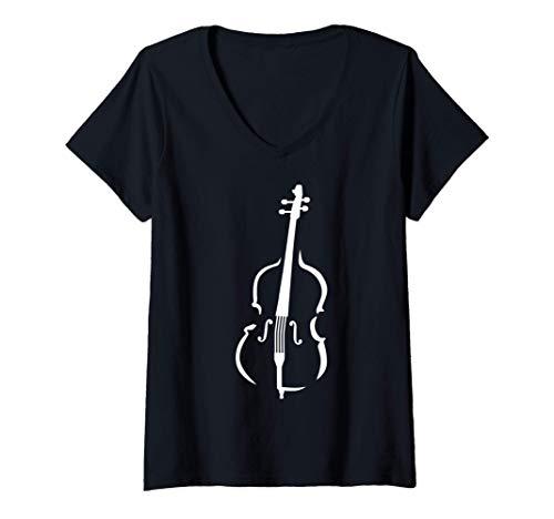 Mujer Instrumento de contrabajo Camiseta Cuello V