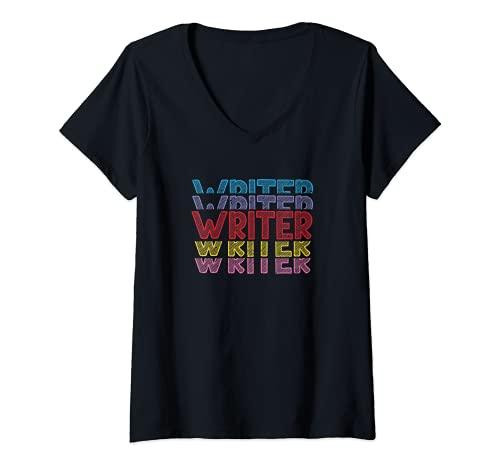 Donna Scrittore romanziere Autore romanzo scrittore biografo Maglietta con Collo a V