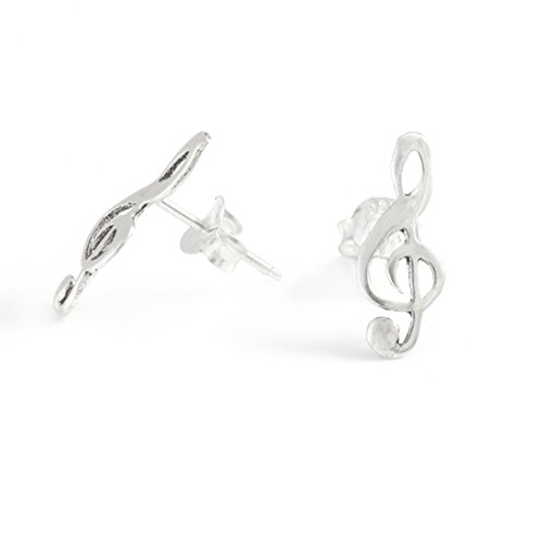 Silverly Dames Sterling zilver .925 vioolsleutel, note, oorbellen