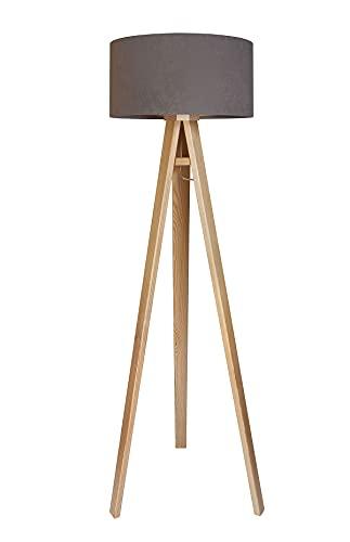 Stehleuchte Jalua F Velours grey & gold mit Dreibein aus Holz H: 140cm 10625