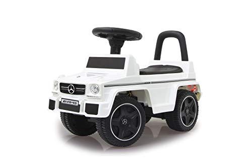 Jamara 460403 Rutscher Mercedes-Benz AMG G63 Kippschutz, Kofferraum unter Sitzfläche, Schub-und Haltegriff, AUX-und USB-Anschluss, Hupe/Motorsound am Lenkrad, wertige Verarbeitung, weiß