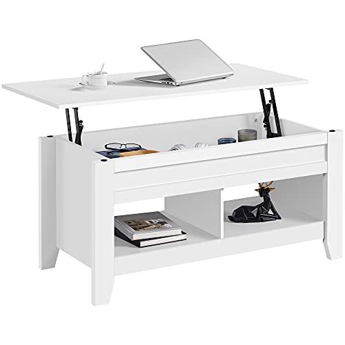 Yaheetech Table de Basse Relevable Extensible, Table de Salon Fonctionnelle, 104 x 49 x 49/61 cm, en Bois MDF, Deux Compartiements, Désign Moderne Blanc