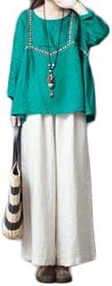 [ンーセンー] 春夏 文芸風 ゆったり オーバーサイズ ワイドパンツ レディース カジュアル 亜麻 ストレート ズボン 純色 ユーズド サルエルパンツ