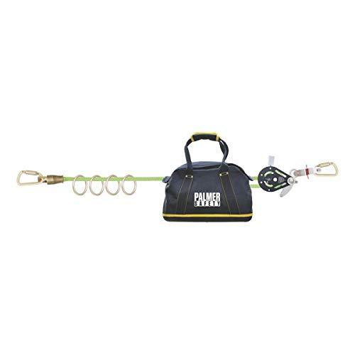 Palmer Safety Horizontal Lifeline System I Temporary 4-Man 100' Rope Hill Lifeline I Kernmantle Rope, Carabiners, Rope Tensioner & Carrying Bag I OSHA ANSI Fall Arrest Kit