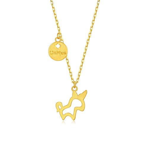YJZW Oro Amarillo De 24k Collar con Colgante De Caballo, Cumpleaños De Chicas Y Adolescentes, Cumpleaños