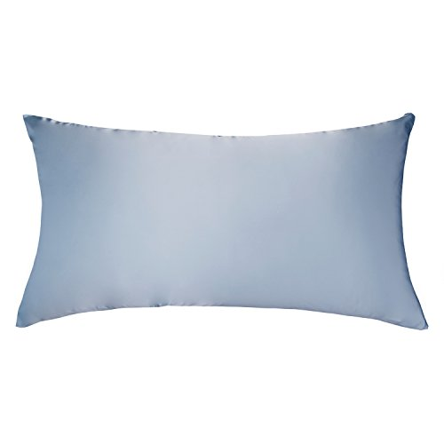 LULUSILK Kissenbezug, 100% reine Seide, 16Momme, mit verdecktem Reißverschluss, schont Haut und Haare, 1Stück 40 x 80 cm hellblau