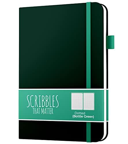 A5 Dotted Journal (100GSM) von Scribbles That Matter - Notizbuch mit Aufzählungszeichen - Smooth 201 nummerierte Seiten - Pro-Version (Flaschengrün)