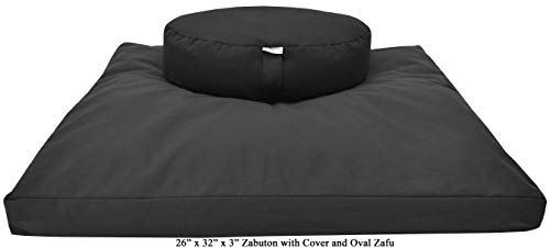 "Bean Products Black Round 14"" Zafu + Zabuton Meditation Cushion Set - 100% Cotton - Organic Buckwheat Fill - Made in USA"