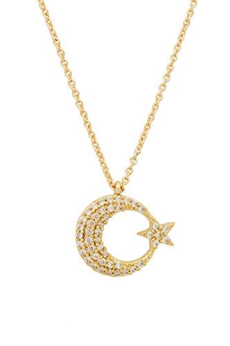 Remi Bijou Wunderschöne Halskette Anhänger - Mond Stern - Gold Farbe mit Zirkonia Strass Ay Yildiz Star Crescent